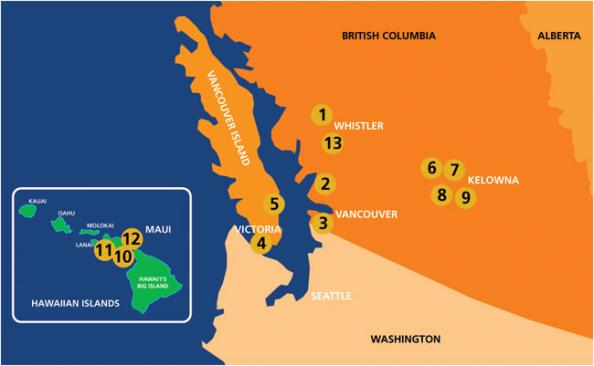 Map of GolfBC Courses